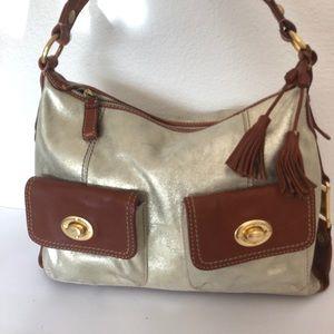 Nine West Leather Bag Tassels Pockets Designer Hip